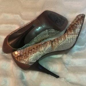 Donald J Pliner snake skin heels